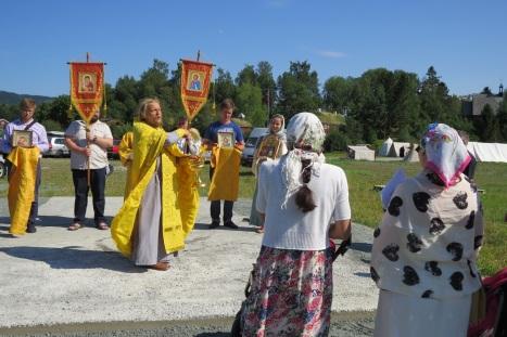 Молебен на месте строительства православной часовни в Стиклестаде