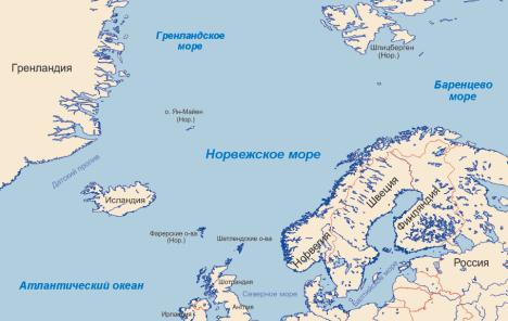 Карта Норвежское море