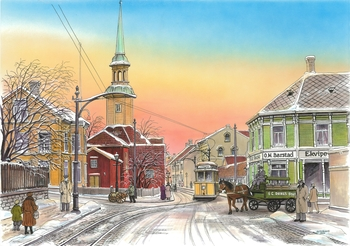 Репродукция старой открытки начала 20 века с видом Бакке кирке в городском ландшафте