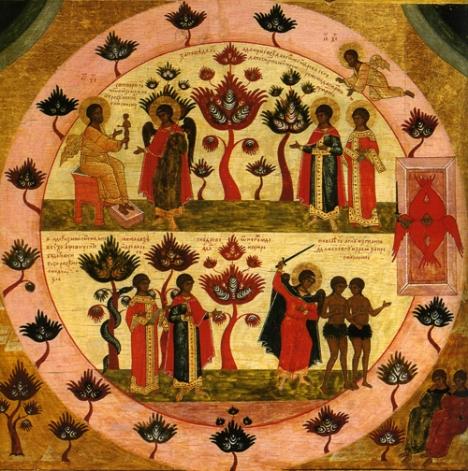 Изгнание Адама из Рая. Кающиеся входят в Рай