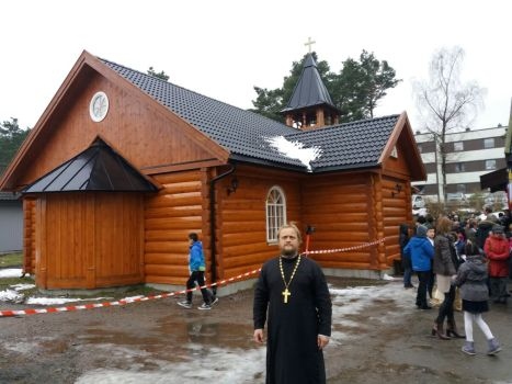У храма святого Димитрия Солунского в Кристиансанде