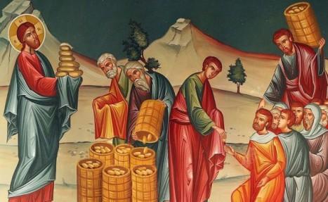 Чудо насыщения Христом пяти тысяч человек пятью хлебами