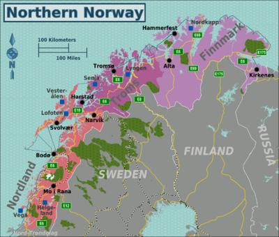 Карта Северной Норвегии