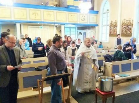 Водосвятный молебен в Никольской общине Тромсе